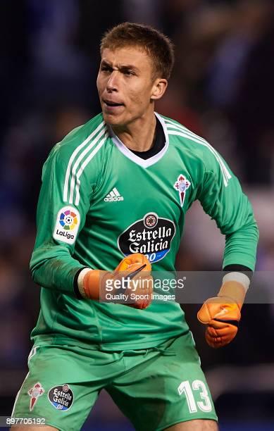 Ruben Blanco of Celta de Vigo reacts to Deportivo de La Corua fans after the La Liga match between Deportivo de La Coruna and Celta de Vigo at Abanca...