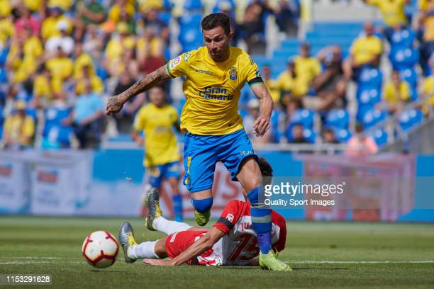 Ruben Castro of Las Palmas in action during the match between Las Palmas and Almeria at Estadio Gran Canaria on June 02 2019 in Las Palmas Spain