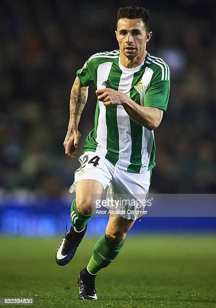 Ruben Castro of Real Betis Balompie in action during La Liga match between Real Betis Balompie and Real Sporting de Gijon at Benito Villamarin...