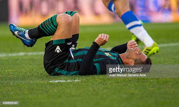 Ruben Castro of Real Betis Balompie reacts during the La Liga match between Real Sociedad de Futbol and Real Betis Balompie de Futbol at Estadio...