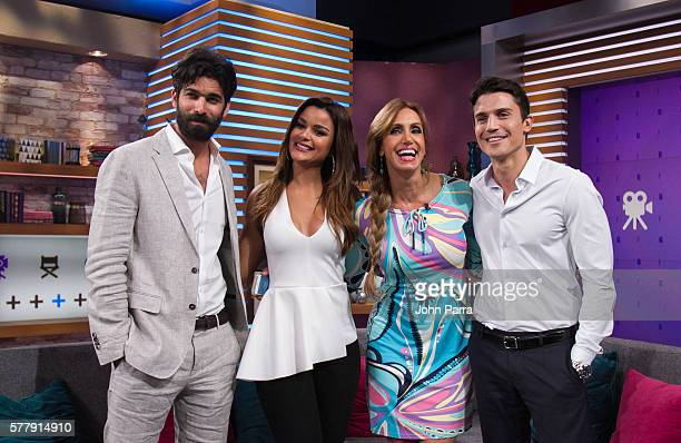 Ruben Cortada Clarissa Molina Lily Estefan and Alex Gonzalez on the set of Univision's El Gordo y la Flaca to promote El Principe at Univision...