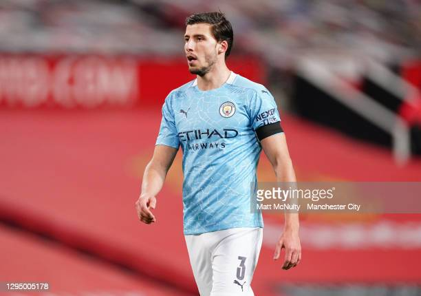 Ruben Dias of Manchester City during the Carabao Cup Semi Final match between Manchester United and Manchester City at Old Trafford on January 06,...