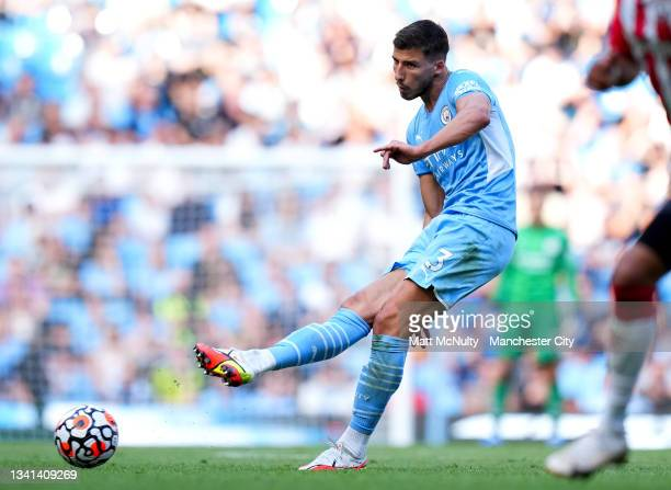 Ruben Dias of Manchester City during the Premier League match between Manchester City and Southampton at Etihad Stadium on September 18, 2021 in...