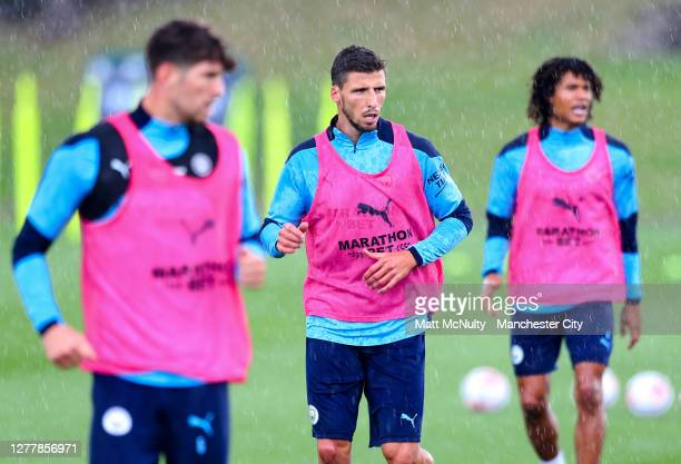 Ruben Dias of Manchester City in action during a training session at Manchester City Football Academy on October 01, 2020 in Manchester, England.