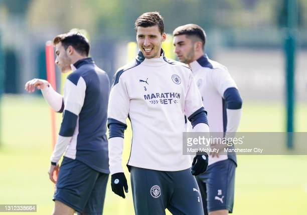 Ruben Dias of Manchester City in action during a training session at Manchester City Football Academy on April 13, 2021 in Manchester, England.