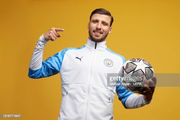 Ruben Dias of Manchester City poses for a portrait during a Champions League final media access day ahead of the 2021 on May 19, 2021 in Manchester,...