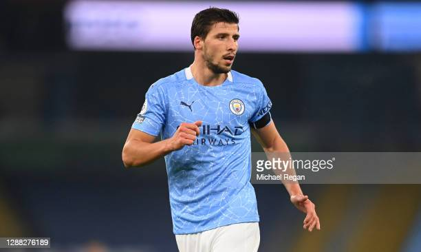 Ruben Dias of Manchester City reacts during the Premier League match between Manchester City and Burnley at Etihad Stadium on November 28, 2020 in...