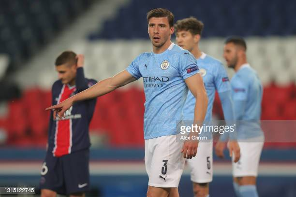 Ruben Dias of Manchester City reacts during the UEFA Champions League Semi Final First Leg match between Paris Saint-Germain and Manchester City at...