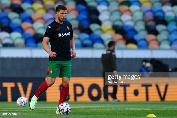 Ruben Dias of Portugal and Manchester City in action during warm up before the start of the International Friendly match between Portugal and Israel...