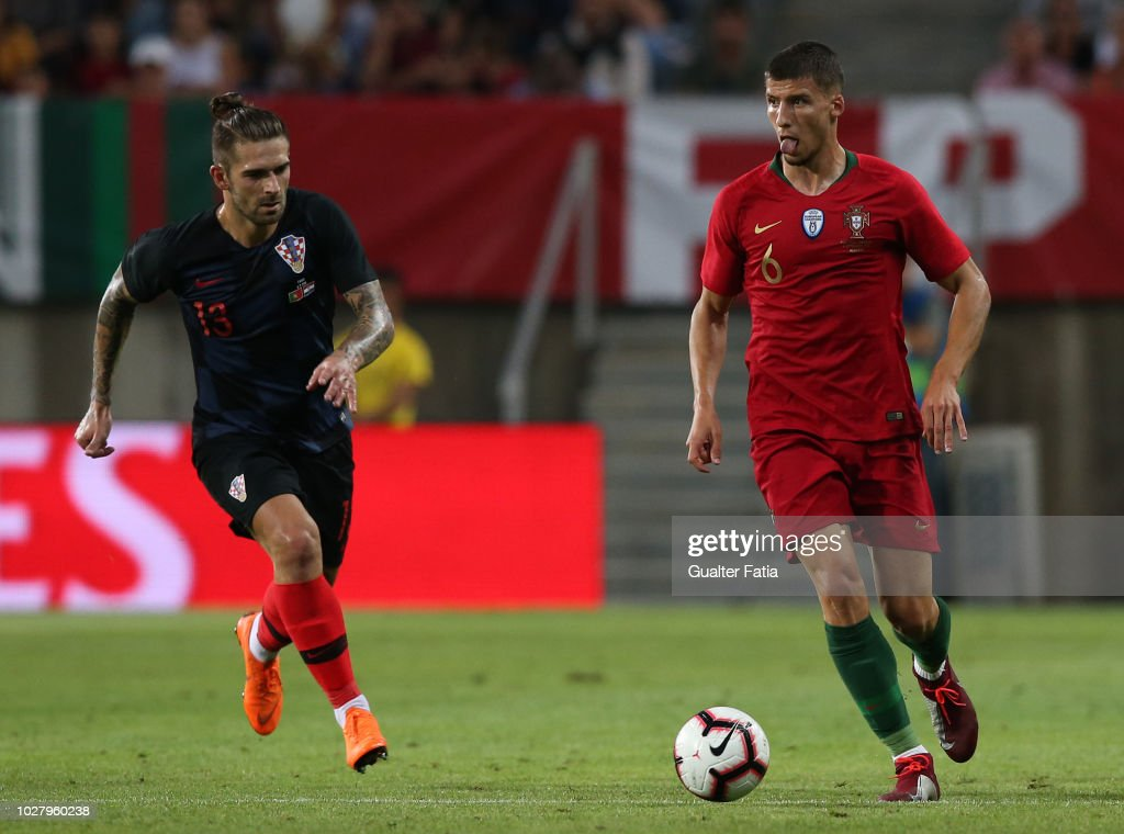 Ruben Dias of Portugal and SL Benfica in action during the International Friendly match between Portugal and Croatia at Estadio Algarve on September 6, 2018 in Faro, Portugal.