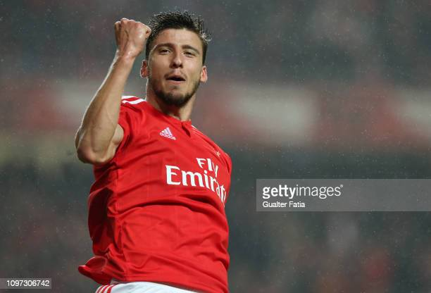 Ruben Dias of SL Benfica celebrates after scoring a goal during the Liga NOS match between SL Benfica and CD Nacional at Estadio da Luz on February...
