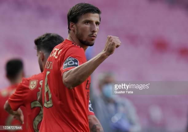 Ruben Dias of SL Benfica celebrates after scoring a goal during the Liga NOS match between SL Benfica and Moreirense FC at Estadio da Luz on...