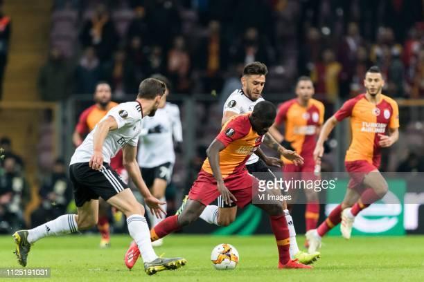 Ruben Dias of SL Benfica Papa Alioune Badou Ndiaye of Galatasaray SK Eduardo Salvio of SL Benfica during the UEFA Europa League round of 32 match...