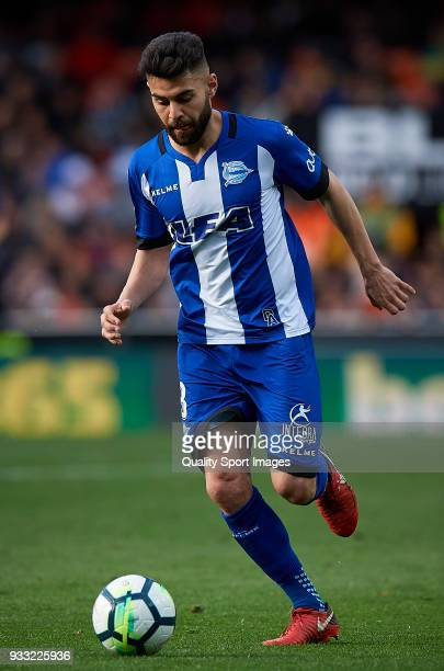 Ruben Duarte of Alaves in action during the La Liga match between Valencia and Deportivo Alaves at Mestalla stadium on March 17 2018 in Valencia Spain
