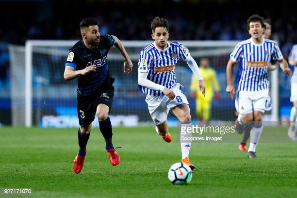 Ruben Duarte of Deportivo AlavesAdnan Januzaj of Real Sociedad during the Dutch Eredivisie match between Vitesse v Ajax at the GelreDome on March 4...