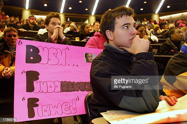 Ruben Duran a student at the University of Michigan attends a Build the March on Washington Save Brown v Board of Education rally January 20 2003 at...