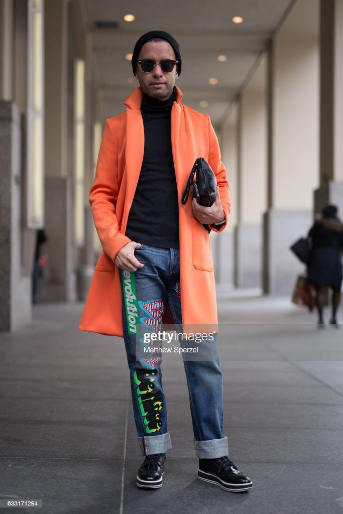 Ruben Fajardo is seen attending NYFW Men's Day at Dune Studios wearing Marc Jacobs jeans on January 30, 2017 in New York City.