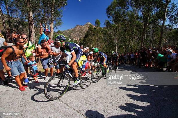 Ruben Fernandez Andujar / Movistar Team Johan Esteban Chaves Orica Bikeexchange Team Alejandro Valverde / Movistar Team during 71st La Vuelta España...