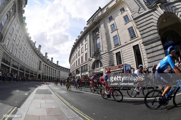 Ruben Fernandez of Spain and Movistar Team / Alex Dowsett of Great Britain and Team Katusha-Alpecin / Regent Street / Peloton / Landscape / during...