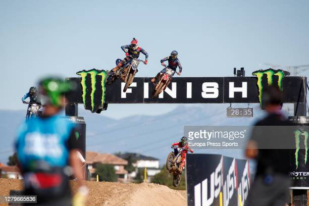 Ruben Fernandez of Spain and Stephen Rubini of France in action during the MX2 World Championship, Spain Grand Prix, at Intu Xanadu track on October...