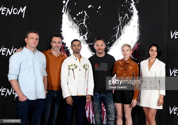 """Ruben Fleischer, Reid Scott, Riz Ahmed, Tom Hardy , Michelle Williams, and Jenny Slate attend the photo call for Columbia Pictures' """"Venom"""" at the..."""