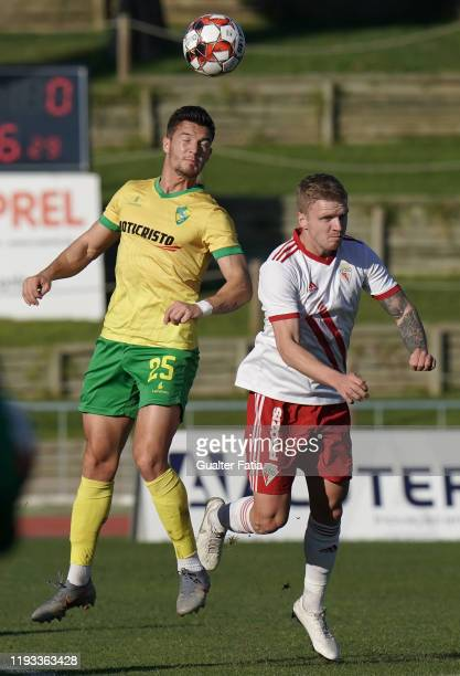 Ruben Freitas of CD Mafra with Nikita Korzun of UD Vilafranquense in action during the Liga Pro match between CD Mafra and UD Vilafranquense at...
