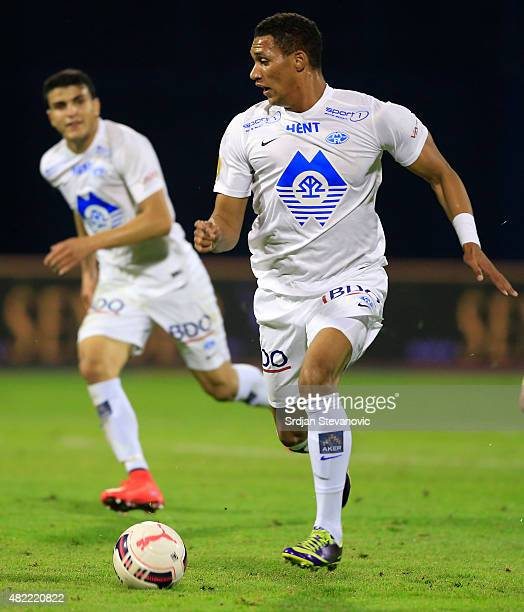Ruben Gabrielsen of FC Molde in action during the UEFA Champions League Third Qualifying Round 1st Leg match between FC Dinamo Zagreb and FC Molde at...