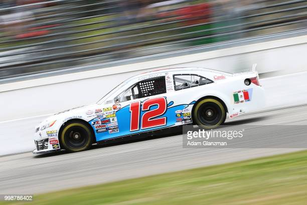 Ruben Garcia Jr driver of the Max Siegel Inc Toyota during qualifying for the NASCAR KN Pro Series East King Cadillac GMC Throwback 100 at Thompson...