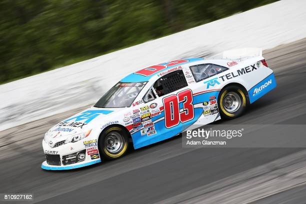 Ruben Garcia Jr driver of the Max Siegel Inc Toyota on the track during qualifying for the NASCAR KN Pro Series East at Thompson Speedway Motorsports...