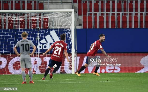 Ruben Garcia of CA Osasuna celebrates after scoring his team's first goal during the La Liga Santander match between C.A. Osasuna and Athletic Club...