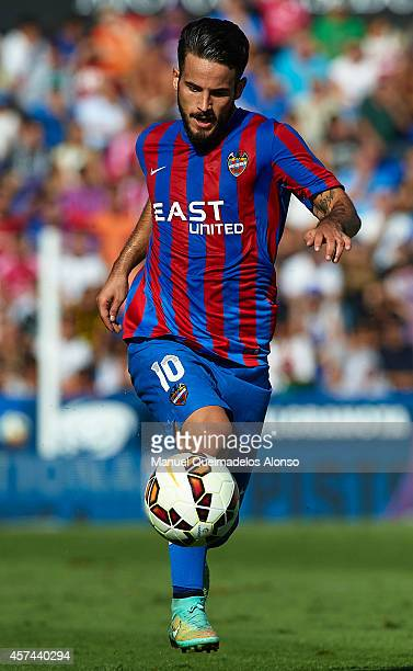 Ruben Garcia of Levante runs with the ball during the La Liga match between Levante UD and Real Madrid at Ciutat de Valencia on October 18 2014 in...