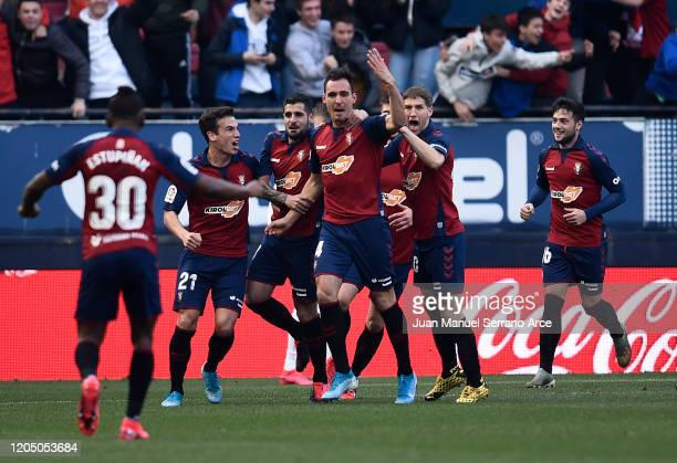 Ruben Garcia of Osasuna celebrates with his team mates after scoring his team's first goal during the La Liga match between CA Osasuna and Real...