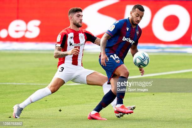 Ruben Garcia Vezo of Levante UD competes for the ball with Unai Nunez of Athletic Club during the Liga match between Levante UD and Athletic Club at...
