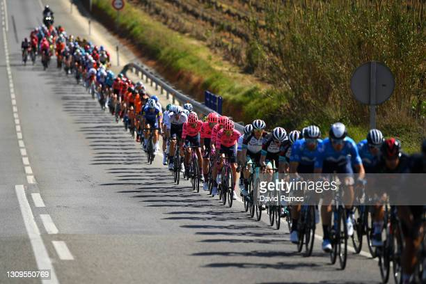 Ruben Guerreiro of Portugal and Team EF Education - Nippo & The peloton during the 100th Volta Ciclista a Catalunya 2021, Stage 7 a 133km stage from...