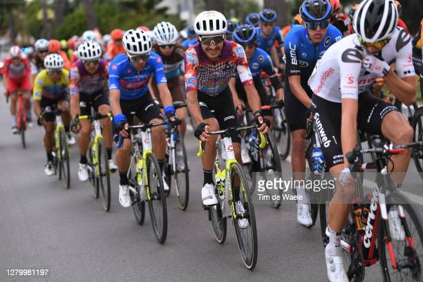 Ruben Guerreiro of Portugal and Team EF Pro Cycling Blue Mountain Jersey / Lachlan Morton of Australia and Team EF Pro Cycling / during the 103rd...