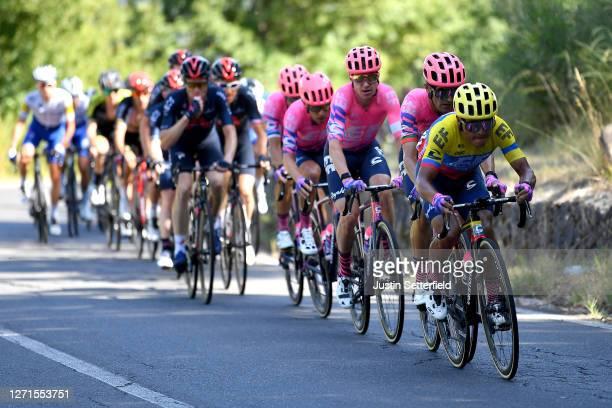 Ruben Guerreiro of Portugal and Team EF Pro Cycling / Jonathan Caicedo of Ecuador and Team EF Pro Cycling / Simon Clarke of Australia and Team EF Pro...