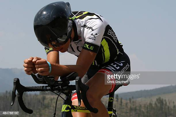 Ruben Guerreiro of Portugal riding for Axeon rides during the stage five time trial of the 2015 USA Pro Challenge on August 21, 2015 in Breckenridge,...