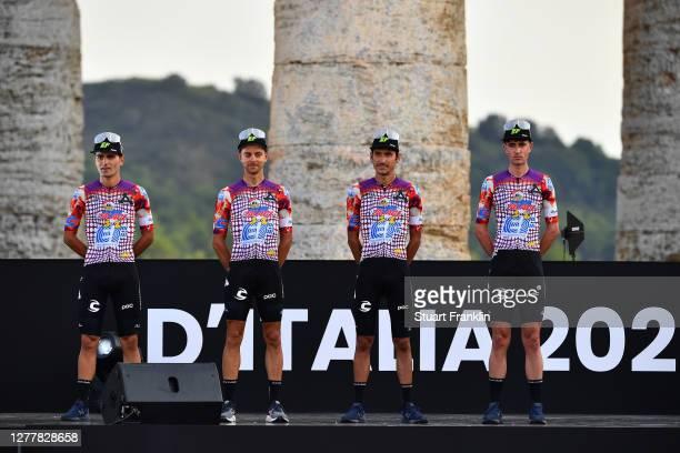Ruben Guerreiro of Portugal, Tanel Kangert of Estonia, Lachlan Morton of Australia, James Whelan of Australia and Team EF Pro Cycling / during the...