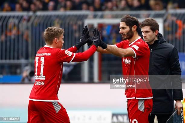 Ruben Jenssen and Halil Altintop of Kaiserslautern during the Second Bundesliga match between Eintracht Braunschweig and 1 FC Kaiserslautern at...