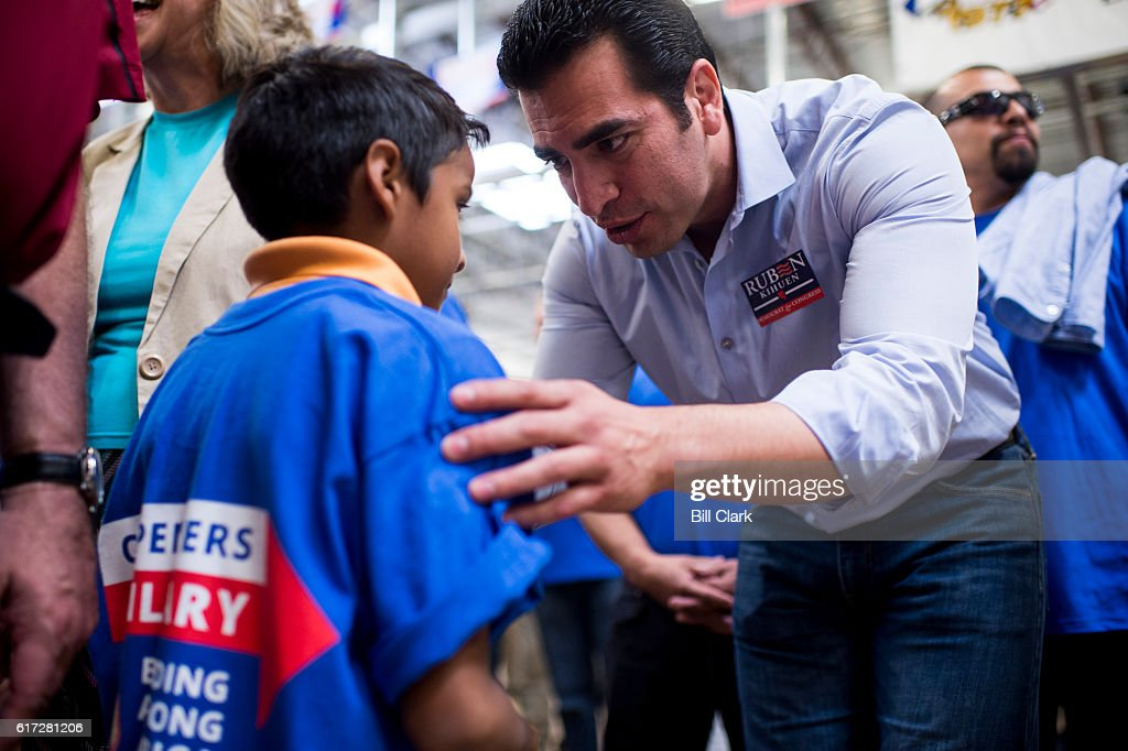 Ruben Kihuen, Democratic candidate for Nevadas 4th Congressional district, speaks with union members and families at the United Brotherhood of Carpenters early vote rally at the Carpenters Union Training Center in Las Vegas on the first day of early voting in Nevada on Saturday, Oct. 22, 2016.
