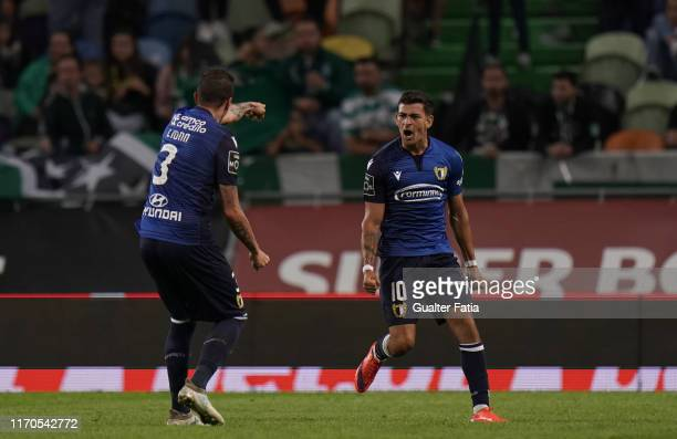 Ruben Lameiras of FC Famalicao celebrates after scoring a goal during the Liga NOS match between Sporting CP and FC Famalicao at Estadio Jose...