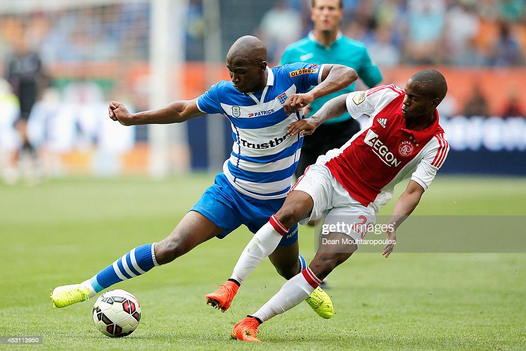 Ruben Ligeon of Ajax and Mokotjo Kamohelo of Zwolle battle for the ball during the 19th Johan Cruijff Shield match between Ajax Amsterdam and PEC Zwolle at the Amsterdam ArenA on August 3, 2014 in Amsterdam, Netherlands.