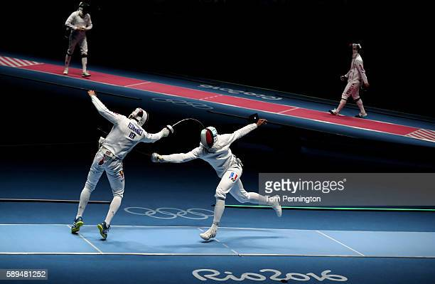 Ruben Limardo Gascon of Venezuela competes against Daniel Jerent of France during the Men's Epee Team Quarterfinal match on Day 9 of the Rio 2016...