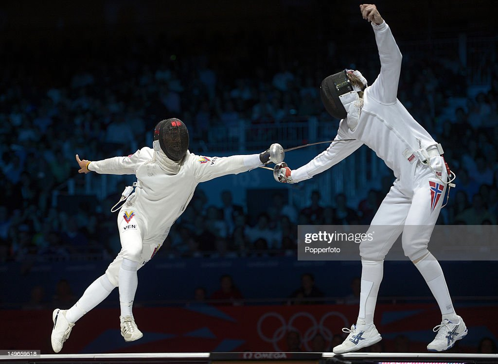 Ruben Limardo Gasconof (left) Venezuela competes in the Men's Epee Individual Fencing Gold medal match against Bartosz Piasecki of Norway on Day 5 of the London 2012 Olympic Games at ExCeL on August 1, 2012 in London, England.