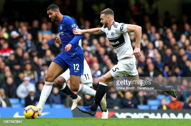 Ruben Loftus Cheek of Chelsea FC and Calum Chambers of Fulham FC in action during the Premier League match between Chelsea FC and Fulham FC at...