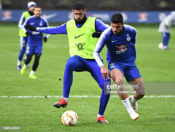 Ruben LoftusCheek and Emerson Palmieri of Chelsea during an open training session at Chelsea Training Ground on November 26 2018 in Cobham England