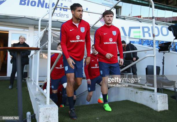 Ruben LoftusCheek and John Swift of England walk out of the tunnel prior to the U21 international friendly match between Denmark and England at...