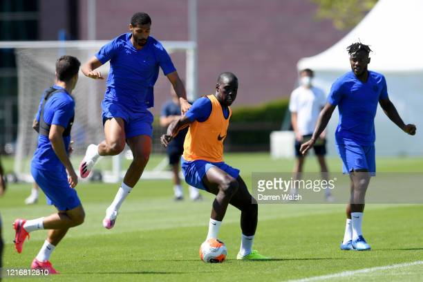 Ruben LoftusCheek and Kurt Zouma of Chelsea during a contact training session at Chelsea Training Ground on June 1 2020 in Cobham England