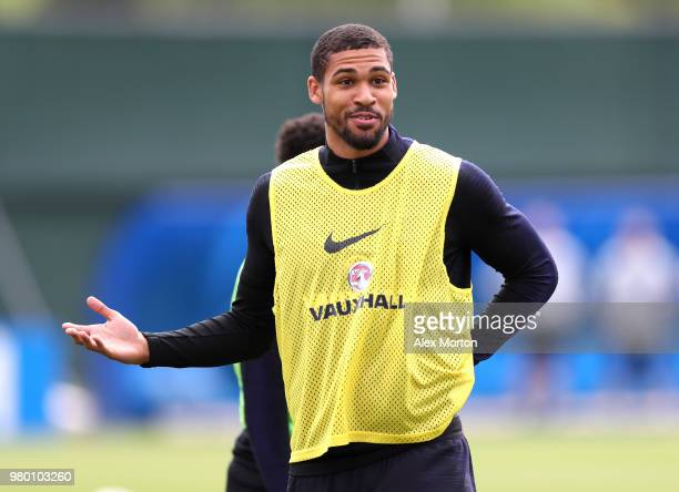 Ruben LoftusCheek in action during the England training session on June 21 2018 in Saint Petersburg Russia