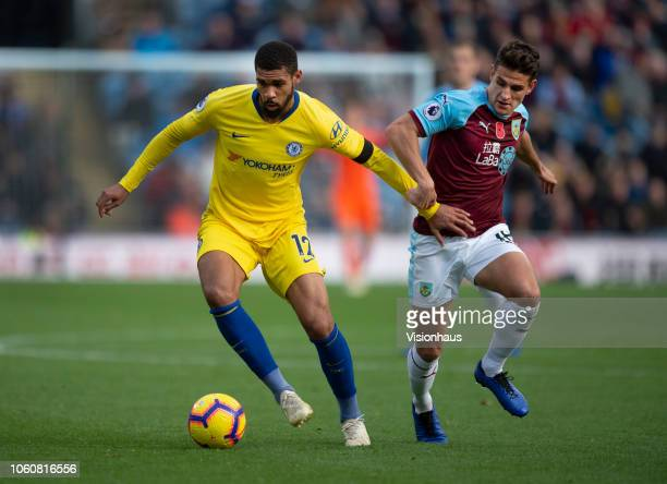 Ruben LoftusCheek of Chelsea and Ashley Westwood of Burnley in action during the Premier League match between Burnley FC and Chelsea FC at Turf Moor...